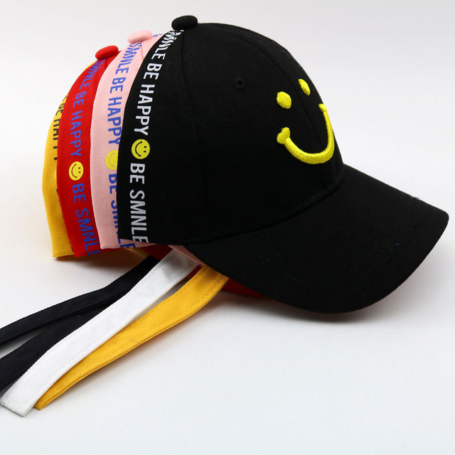 2018 New 2-8 Years Child Long Ribbon Baseball Cap Smiley Face Embroidery Summer Kids Sun Hat Boys Girls Snapback Caps Children