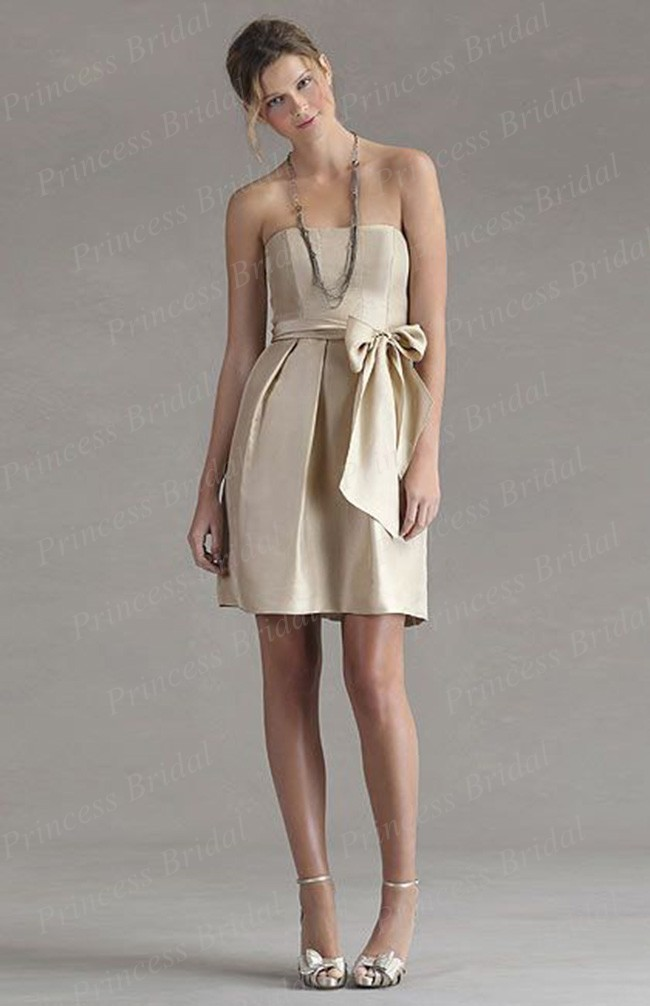 Free Shipping Italian Style Sheath Strapless Knee Length Satin font b Bridesmaid b font font b