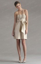 Free Shipping Italian Style Sheath Strapless Knee Length Satin Bridesmaid Dress With Sash BD048