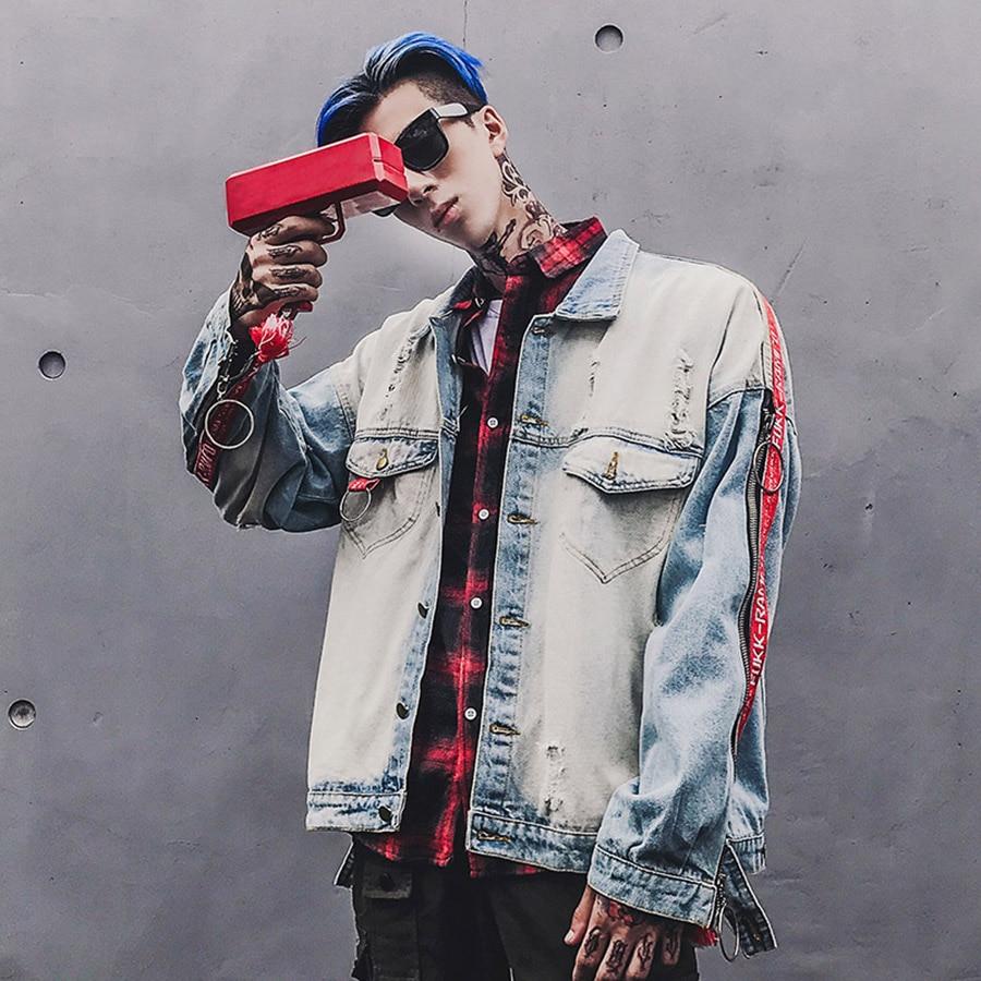 Bomber Denim Vintage Jacket Men Patch Designs Washed Distressed Punk Rock Coat Men Ripped Jeans Streetwear Hip Hop Outwear Male
