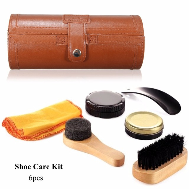 6Pcs/Set Cleaning Shoes Care Kit, Leatherette Barrel Case ...