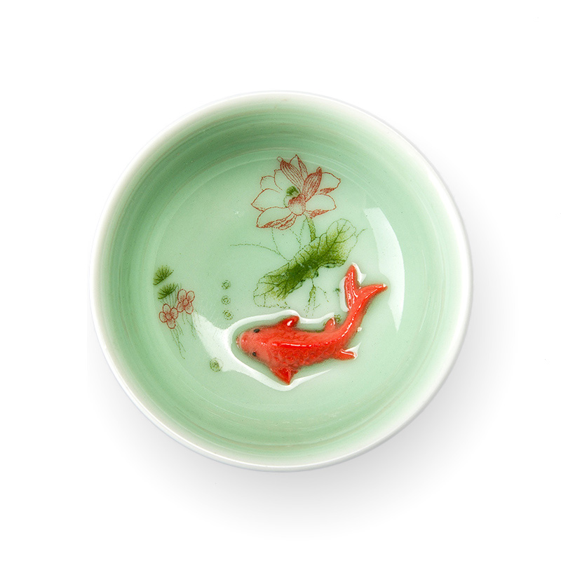 China Tea Cup Porcelain Celadon Fish Teacup Set Teapot Drinkware Seramik China Kung Fu Tea Set Seramik cawan Hadiah Cina D042