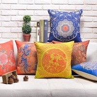 Luxury New Cotton Linen Pillow Cover Chinese Style Printed Cushion Cover Home Decorative Pillow Case For