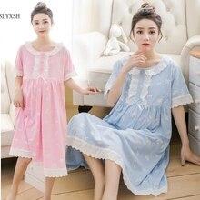 SLYXSH летняя кружевная принцесса для беременных женщин Ночная юбка пижамы для грудного вскармливания женское платье с коротким рукавом месячные костюмы