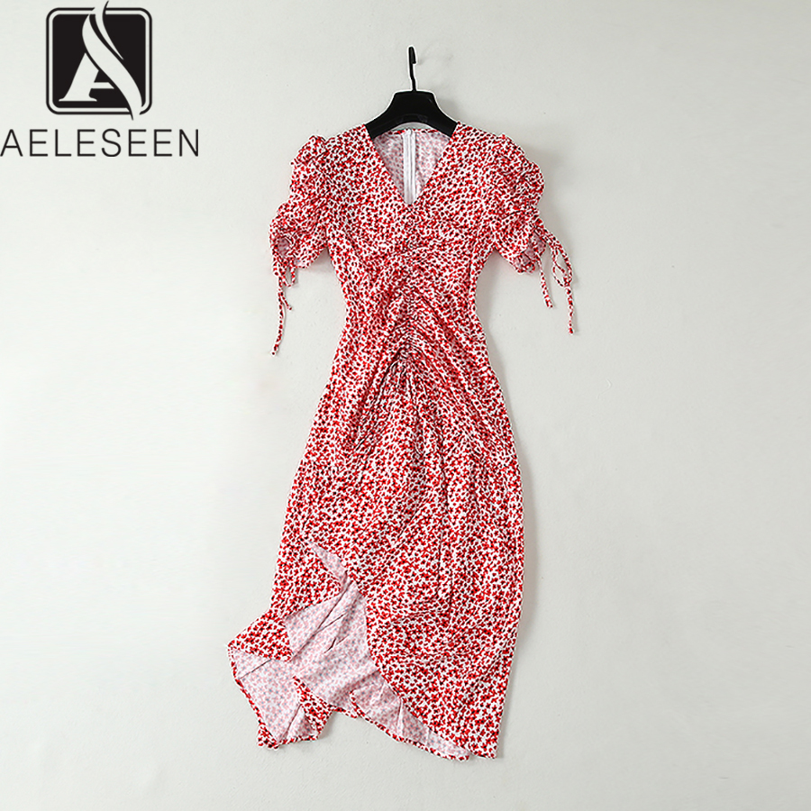 AELESEEN New Items Bohemian Dresses Women 2019 Summer Floral Printed Puff Bow Sleeve Sexy Deep V