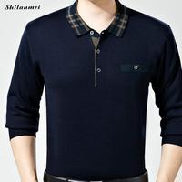 Fashion Plaid Slim Fit Long Sleeve T Shirt Men Tee Camisetas Hombre Plus Size Business Men