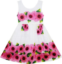Girls Dress Sunflower Green Leaves Sleeveless 2017 Summer Princess Wedding Party Dresses Girl Clothes Size 2