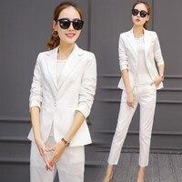 Офисные единые конструкции для женщин элегантные рабочие брючные костюмы для черный, белый цвет оранжевый деловые брюки Блейзер комплект
