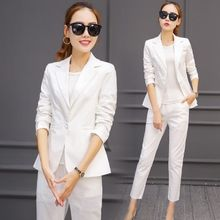 Office Uniform Designs Women Elegant Work Pant Suits Black White Orange Formal Trouser Blazer Set Ladies Formal Wear Pantsuits(China)