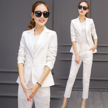 Womens Orange Black White Pants and Blazer Suit High Quality 2020 Spring Work Wear 2 Piece Pant Suits for Office Formal Women фото