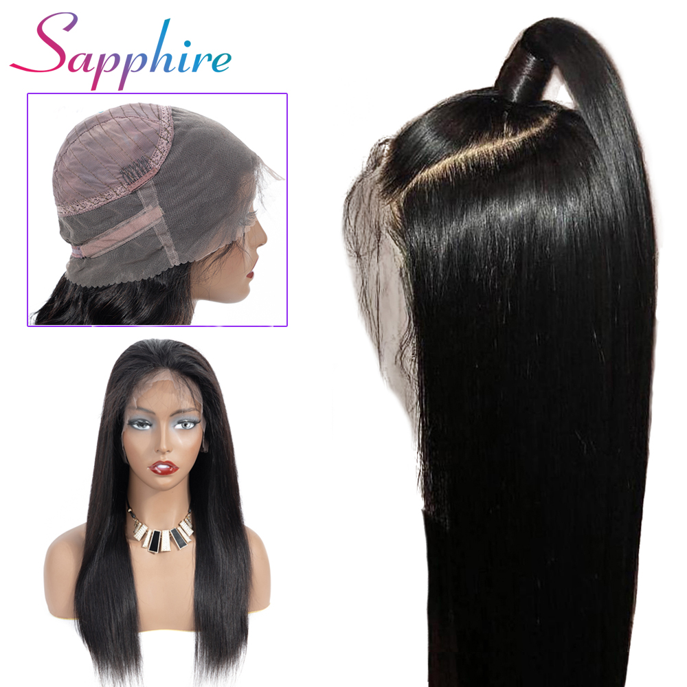 Sapphire 360 Lace Front Wig Bleached Knot Remy Lace Front Human Hair Wigs Brazilian Straight Wigs With Baby Hair Natural Color-in Human Hair Lace Wigs from Hair Extensions & Wigs    1