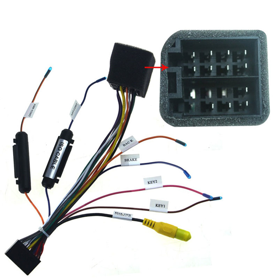 20 PINS ISO Wiring Harness Connector Adapter with Rear View Camera Connect for 1 DIN/2 DIN Android Car Radio Power Cable Harness
