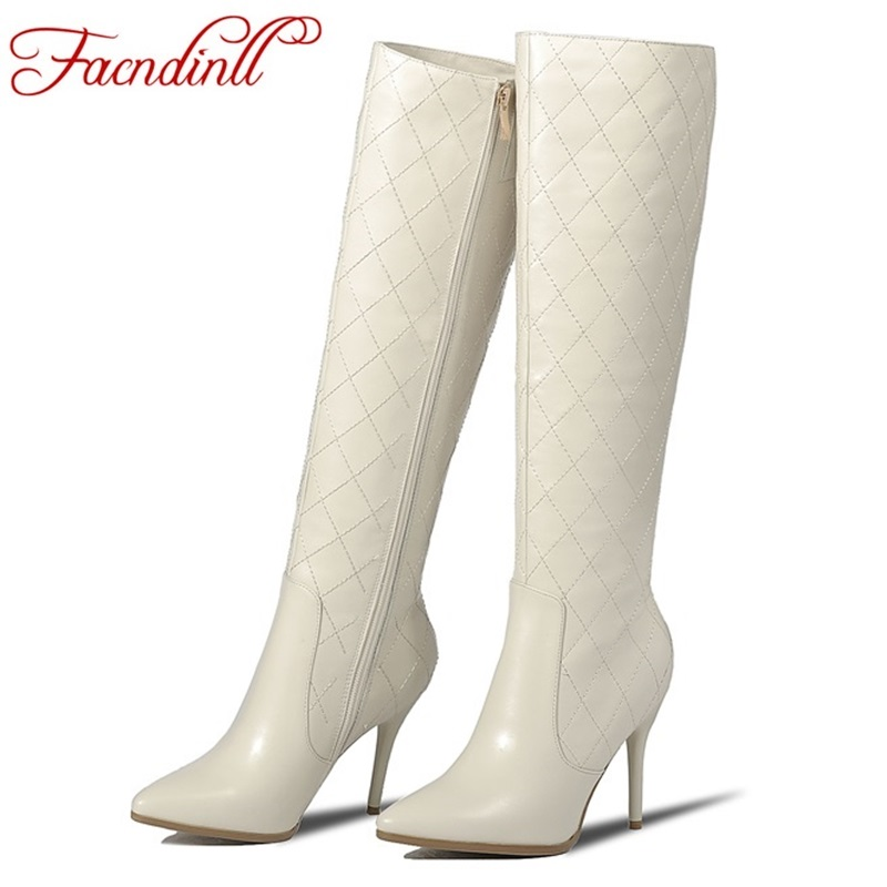 FACNDINLL high quality genuine leather+pu high heels women riding boots spring autumn long boots women black knee high boots high quality genuine leather women shoes spring and autumn high heels women boots hollow out lace ladies fashion boots