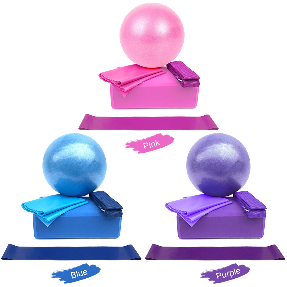 Yoga Ball Set,Include Ball Block Stretching Band Cotton Strap  Resistance Loop Ban 6