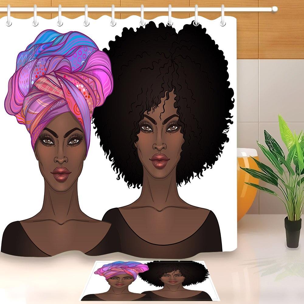 LB Boho Afro Girl African American Bath Mat And Shower