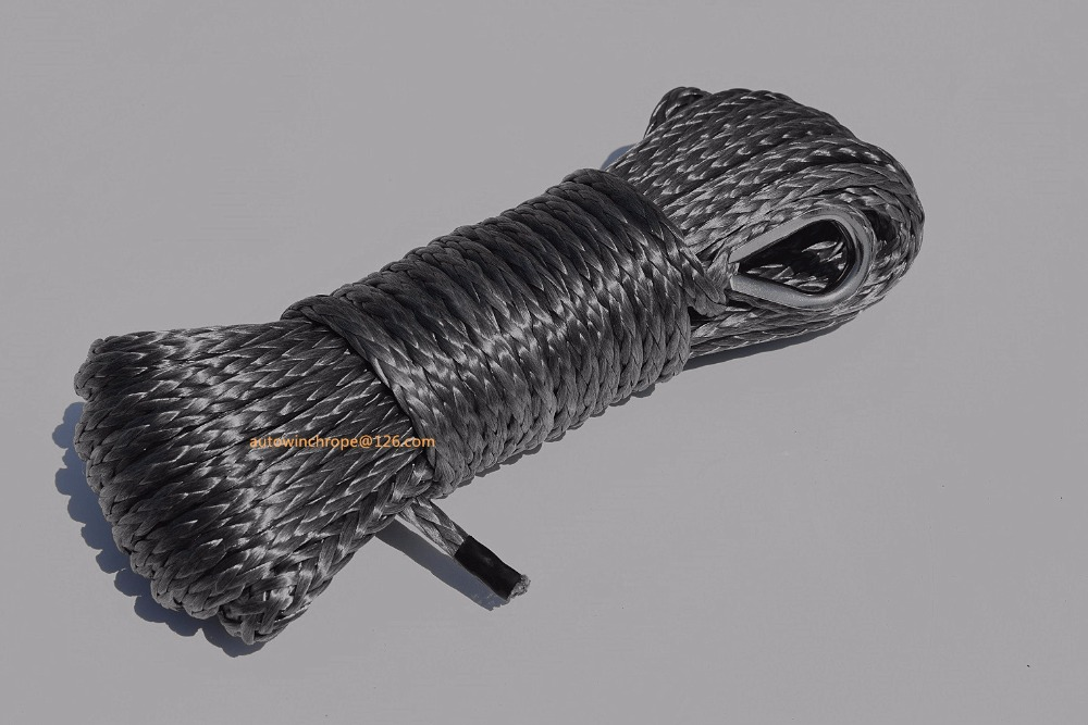 Grey 6mm*15m ATV Winch Cable,Winch Rope 6mm,ATV Winch Line for Electric Winches,Synthetic Rope