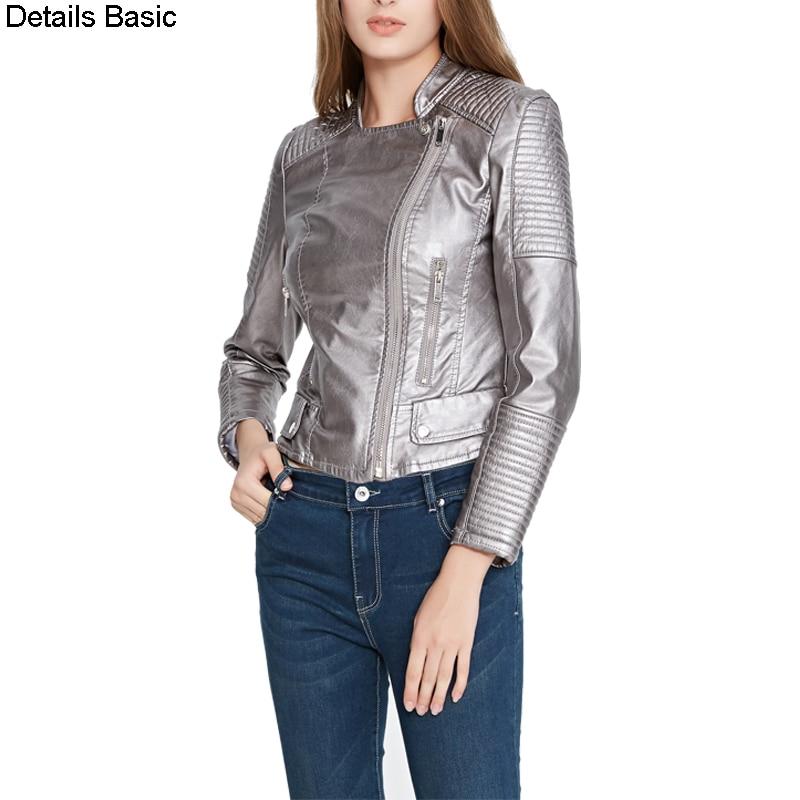 2018 women faux   Leather   jacket spring autumn slim   leather   coat PU motorcycle jacket ladies black jacket wine red S-XL drop ship