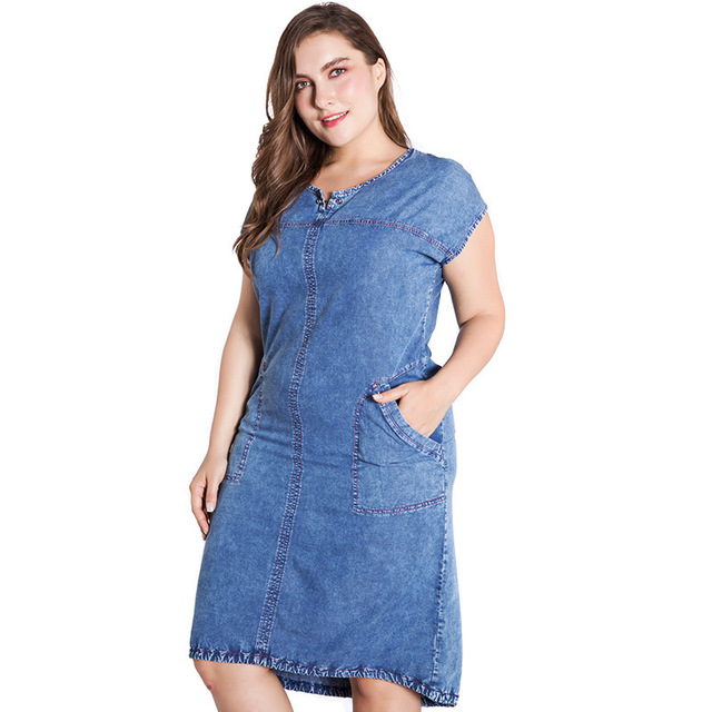 Summer ladies Plus Size denim dress for women clothes Round Neck Pockets elegant  4xl 5xl 6xl Large Size party Dress 4