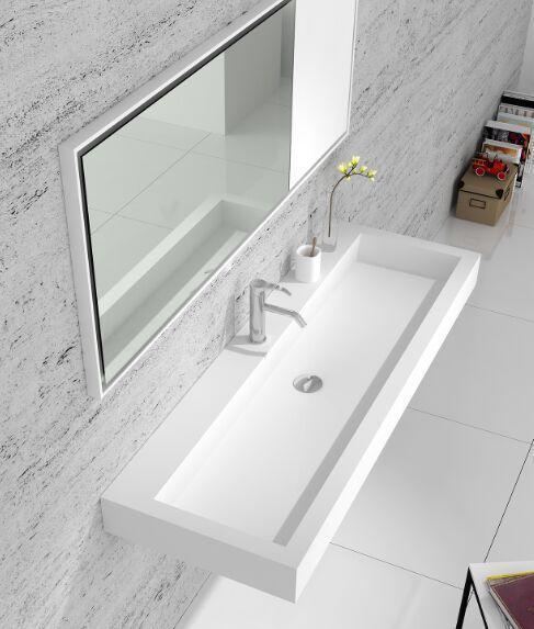 Bathroom Rectangular Wall Hung Vanity Corian Wash Sink Matt Solid Surface Stone Washbasin Rs38432 In Sinks From Home Improvement On Aliexpress