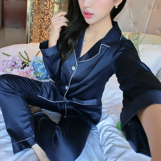 Women Sexy Silk Satin Lingerie Set Long Sleeve Pyjama Femme Embroidery Pijama Sets V-neck Sleepwear Plus Size Nightgown