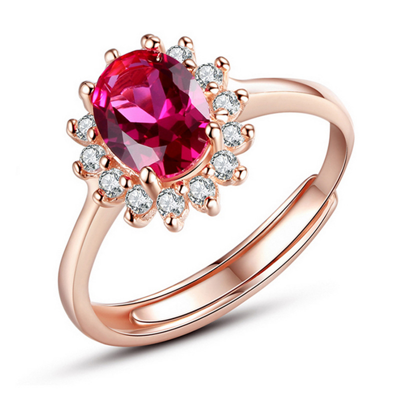 Crystal From Swarovski Rings Classic Engagement Real Silver adjustable Rose Gold Color jewelry Love Wedding Ring for Women