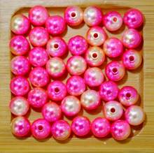 Rainbow Color 4# Round 4/6/8/10mm ABS Imitation Pearl Beads Hole Loose Beads Diy Jewelry Necklace Making for women 50-500PCS(China)
