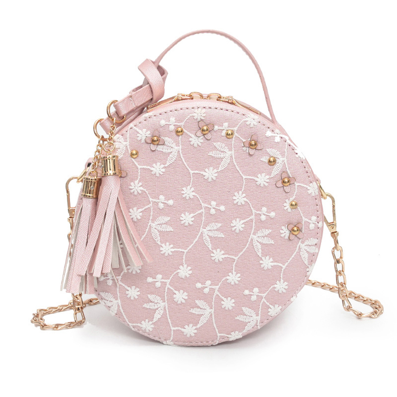 Sweet Lace Round Handbags High Quality PU Leather Women Crossbody Bags Female Small Fresh Flower Chain Shoulder Bag Pink