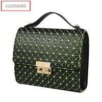 2016 Laser Leather Teenage Girls Handbag Fresh Women Shoulder Bag Candy Color Sequined Wristlets Crossbody Bag Handbags Clutch