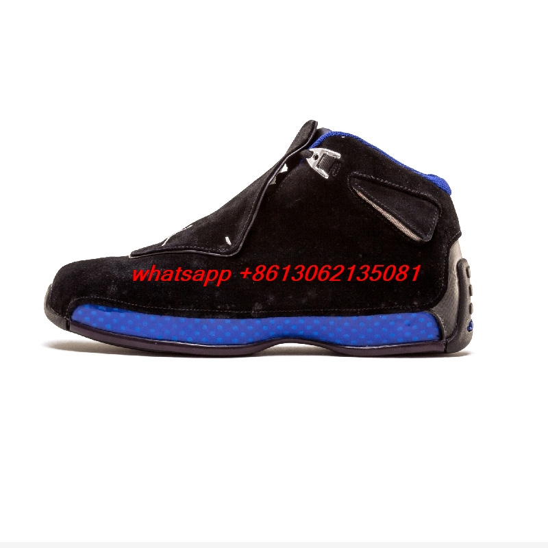 Authentic hot Retro 18 XVIII Men basketball shoes Black Gym Red Defining Moments Toro Outdoor Sport Sneaker Black blueAuthentic hot Retro 18 XVIII Men basketball shoes Black Gym Red Defining Moments Toro Outdoor Sport Sneaker Black blue