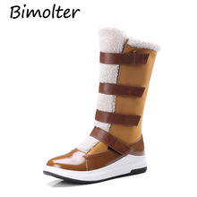 Bimolter Women Mid-calf Boots Female Winter Warm Snow Ladies Suede Leather Straps Wool Blend Size 33-43 PAEA030