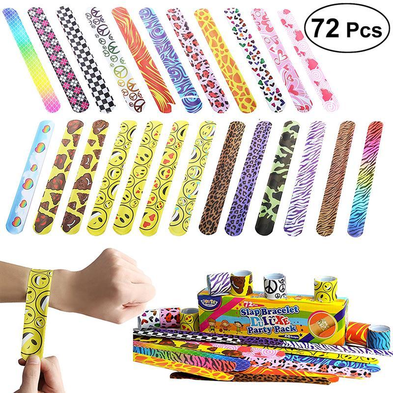 72pcs Cartoon Slap Bracelets Kids  Gags & Practica Favors Supplies Boy Girl Birthday Toys Treat Bag Reward Goodie Wholesale