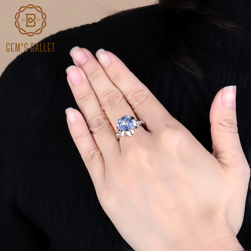 Gem's Ballet 2.74Ct Natural Iolite Blue Mystic Quartz Flower Ring 925 Sterling Silver Engagement Ring For Women Fine Jewelry
