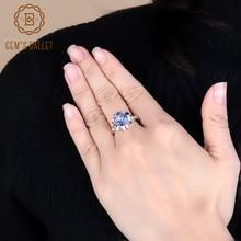 Mücevher bale 2.74Ct doğal Iolite mavi mistik kuvars çiçek yüzük kadınlar için 925 ayar gümüş nişan yüzüğü güzel takı