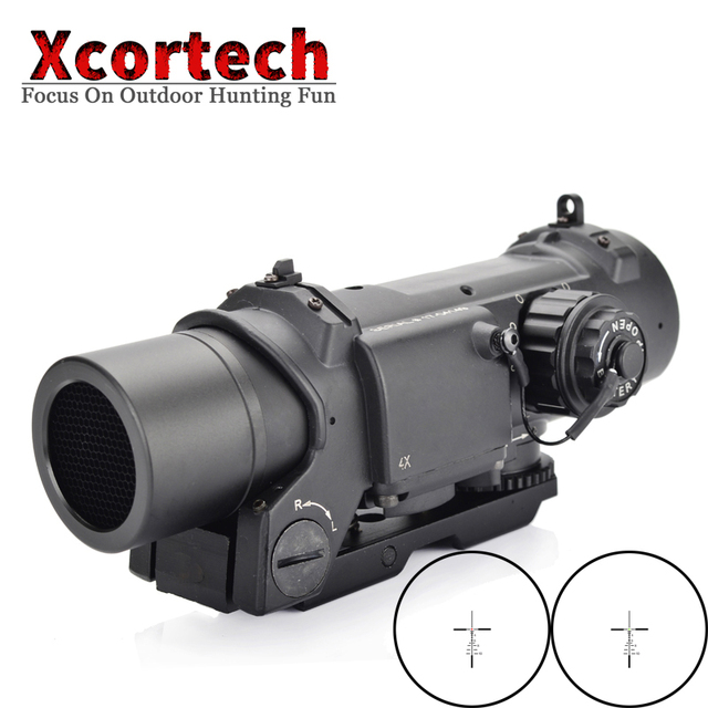 Hunting Tactical 4x Fixed Dual Role Optic Rifle Scope Airsoft Scope Magnificate Scope Fit 20mm Weaver Picatinny Rail For AR15 M4