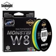SeaKnight Monster W8 Multicolor Braid PE Fishing Line 8 Strand 300M Multifilament Fishing Line Super Strong 20 30 40 50 80 100LB