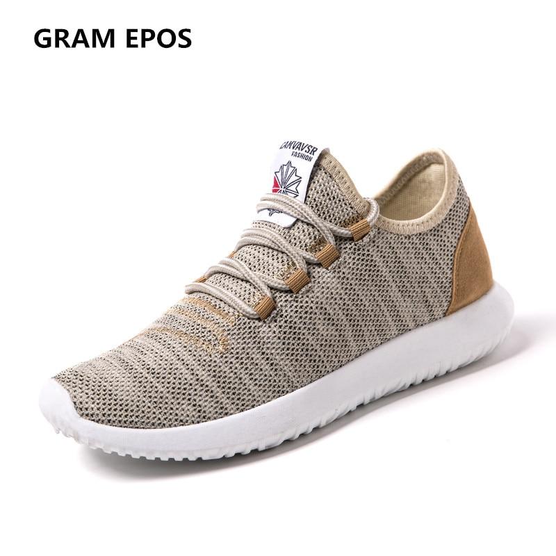 dc185359 GRAM EPOS 2019 nuevos zapatos casuales transpirables para hombres zapatos  tejidos zapatillas de deporte de moda para hombres planos informales de  gran ...