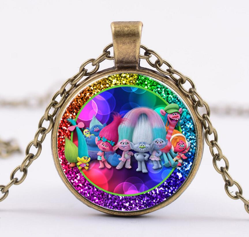 New Design Trolls Figures Alloy Trolls Necklace Doll Poppy With Glass Kids Brinquedos For Woman Girls Christmas Gift Toys