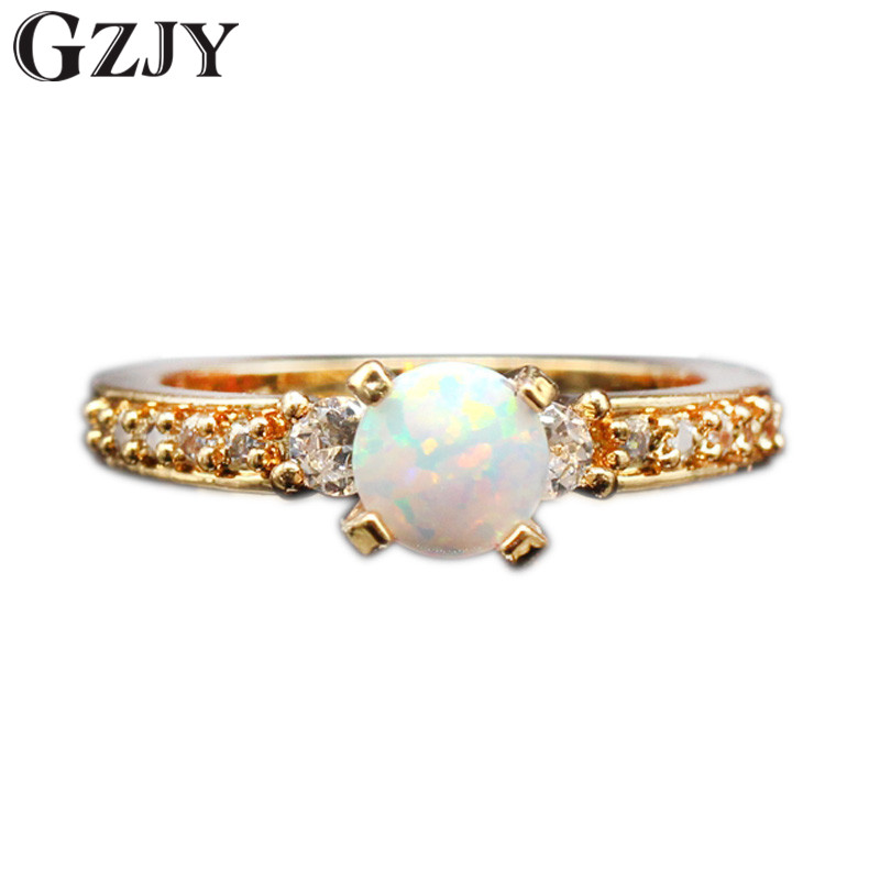 GZJY New Beautiful Simple Round Jewelry White Fire Opal Zircon Champagne Gold Color Wedding Ring For Women Gift Wholesale