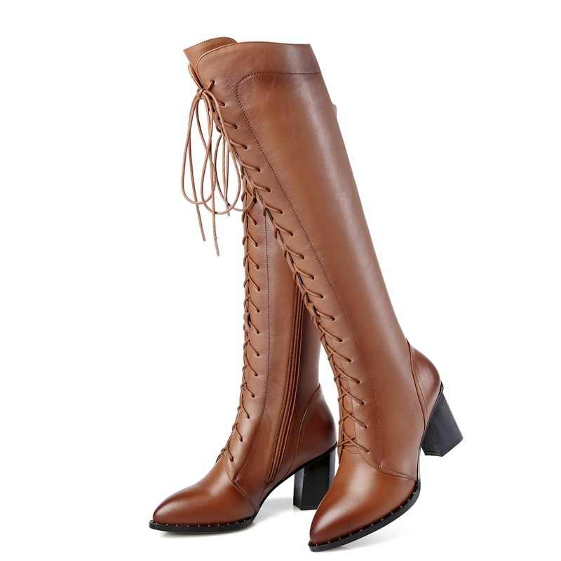 52b047de5e6 Gdgydh 2018 Women Winter Knee High Boots Lacing Black Female Genuine  Leather Boots Ladies Square High