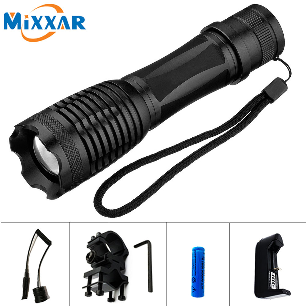 EZK20 CREE XM-L T6 9000LM Lantern LED Flashlight Linterna Torch  tactical Light Hunting Flash Light with Charger Gun Mount