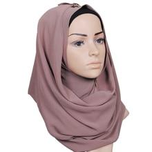 15 colors Muslim Hijab Womens Chiffon Hijab Underscarf Head Islamic Cover Bonnet Hat Cap Scarf 180cm Length Chiffon Scarf