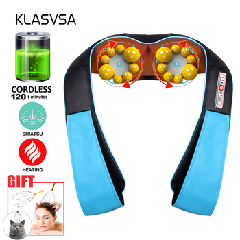 KLASVSA Cordless Rechargeable Shiatsu Neck Back Massager Portable U Shape Electric Massager with Heat Kneading Car/Home Massagem