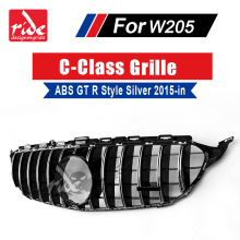 W205 GT R Style without Camera Hole Grille ABS Silver For MercedesMB C-Class c180 c200 C250 Sports Without sign Front Grills 15+