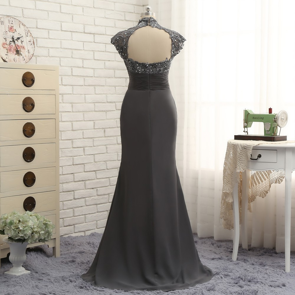 Open Back 2018 Mother Of The Bride Dresses Mermaid Cap Sleeves Gray Lace Beaded Long Evening Dresses Mother Dresses For Wedding 3