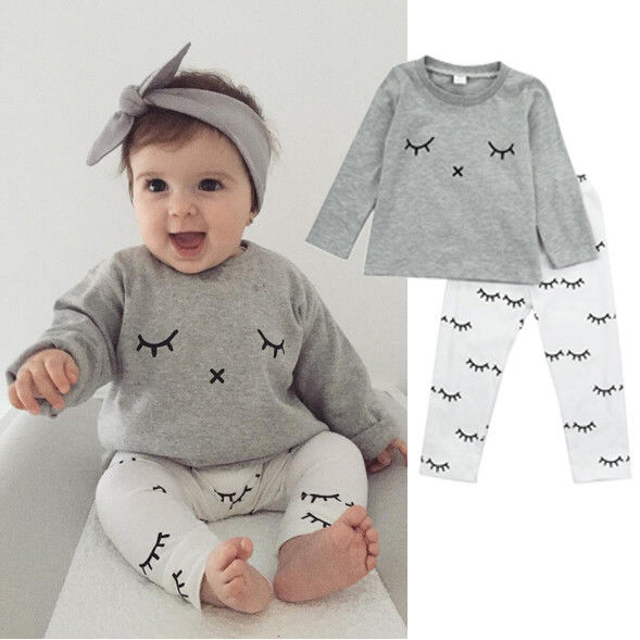 Pudcoco Cute Newborn Kids Baby Boys Girls Clothes Long Sleeve Shirts Blouse Tops+Pants 2Pcs Casual Outfits Cotton Baby Sets finejo baby girls kids blouse jeans pants casual clothes sets suit outfits