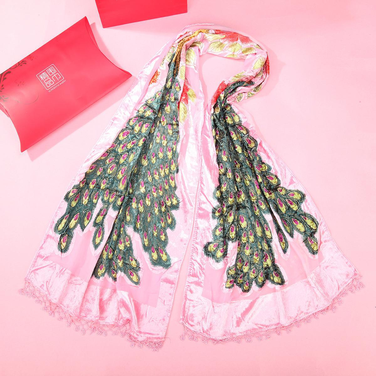 Pink Chinese Women's Wrap Velvet Silk Shawl Pashmina Bufanda Peacock Beads Scarf Soft Echarpes With Tassels Embroidery Shawls
