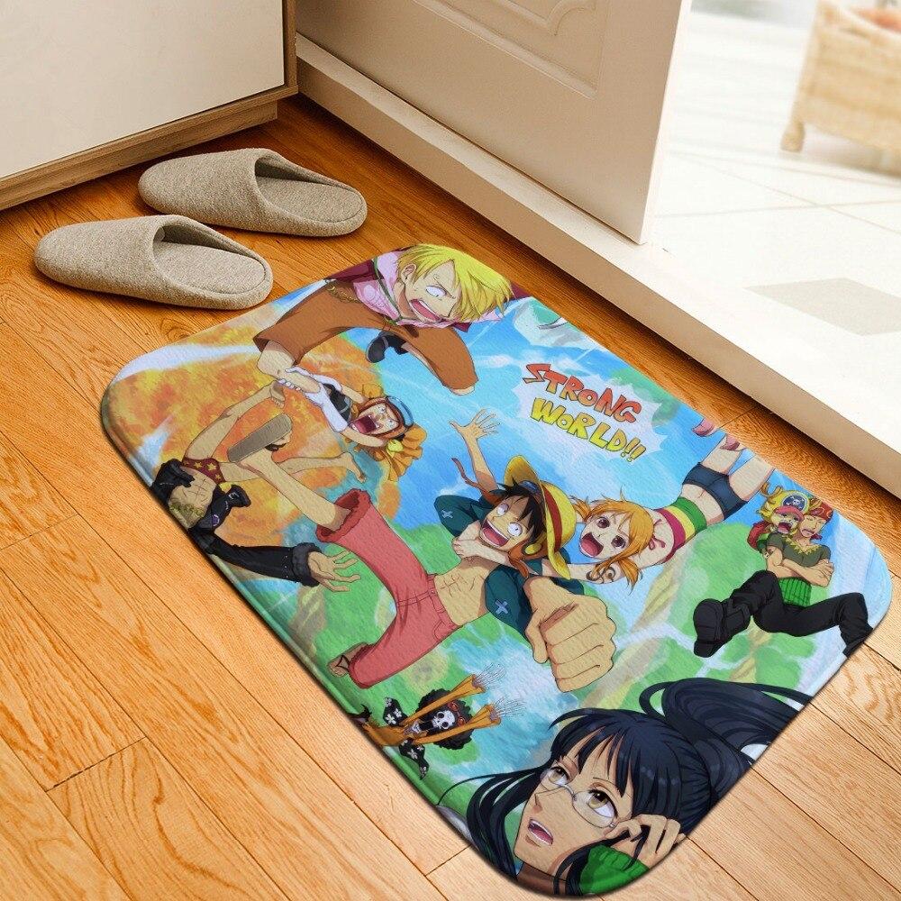 Cartoon One Piece Printed Floor Mats Anti slip Rugs Anime Luffy Carpets Front Door Doormat Bathroom
