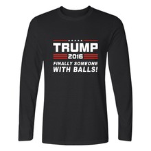 Donald Trump T-shirt Men Casual Long Sleeve TShirts and USA Presidential Make America Great Again T Shirts in Cotton Tee Shirt T