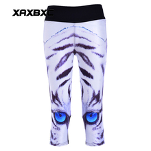 New 1140 Sexy Girl Women White Tiger Stripe 3D Prints Workout stretch Fitness Elastic Cropped Trousers