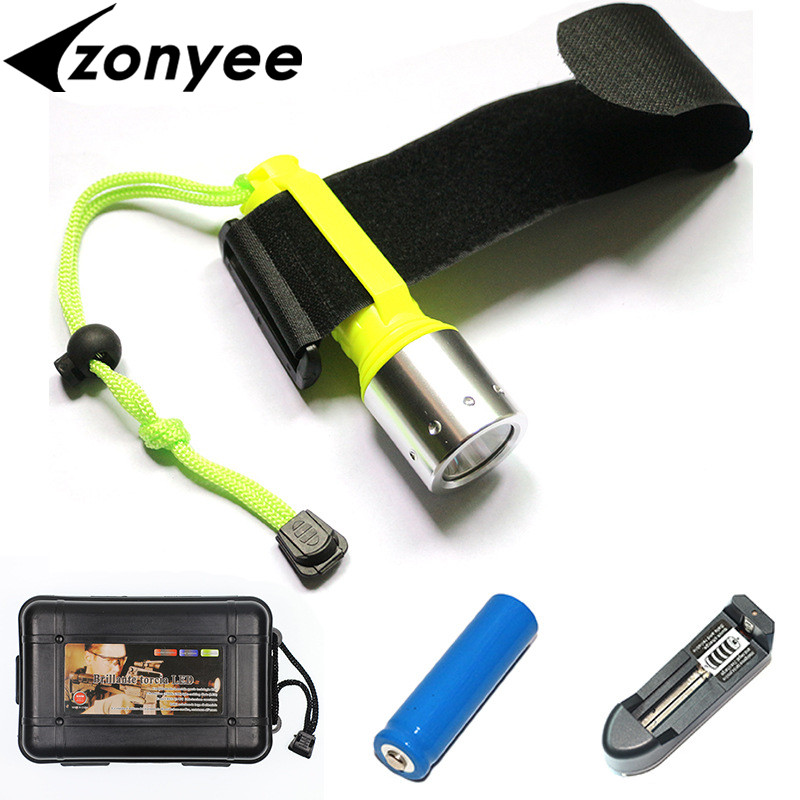 Zonyee Diving Flashlight CREE-T6 XM-L T6 800 Lumens LED Torch Cree LED Flashlight Torch light with 1x18650 Charger Waterproof